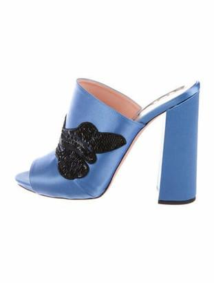 Rochas Animal Print Sequin Embellishments Slides Blue