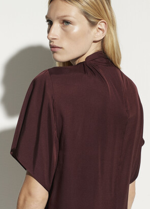 Vince Twist Neck Flutter Sleeve Blouse