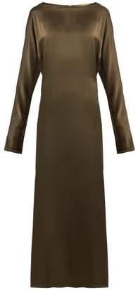 Albus Lumen - Alma Silk Satin Dress - Womens - Dark Green