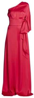Ralph And Russo One-Shoulder Silk Satin Jumpsuit
