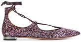 Aquazzura Christie glitter ballerinas - women - Calf Leather/Leather/PVC - 35