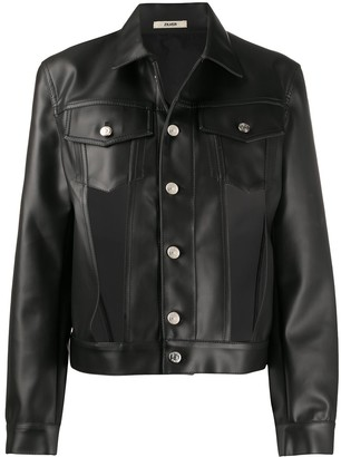 Zilver Cut-Out Faux Leather Jacket