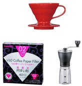 Hario V60 Red Ceramic Coffee Dripper 01 with White V60 Paper Filters 40 Sheets, Measuring Scoop & Mini Mill Hand Grinder
