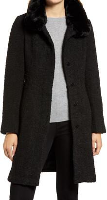 Gallery Faux Fur Trim Long Coat