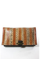 Lanvin AUTH Brown Leather Snakeskin Gold Tone Large Fold Clutch Handbag