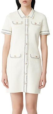 Maje Rosie Contrast-Stitch Knit Dress