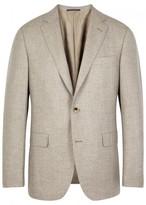 Pal Zileri Taupe Basket-weave Wool Blend Blazer