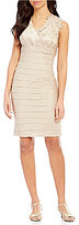 London Times Lace-Trim Shimmer Shutter Dress