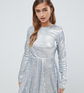 TFNC Petite Petite long sleeve fit and flare sequin mini dress in silver irridescent