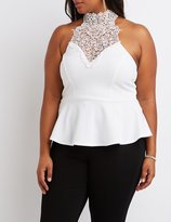Charlotte Russe Plus Size Crochet Yoke Peplum Top