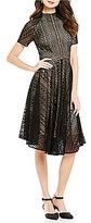 Alex Marie Keaton Mock Neck Short Sleeves Lace A-Line Dress