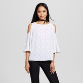 Mossimo Women's Cold Shoulder Woven Top with Polka Dot Pattern White