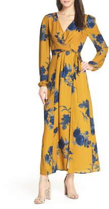 Chelsea28 Floral Print Long Sleeve Faux Wrap Maxi Dress