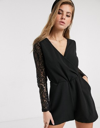 Glamorous wrap front playsuit in black