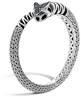 John Hardy Classic Chain Sterling Silver Lava Macan Kick Cuff with Black Sapphire and Swiss Blue Topaz