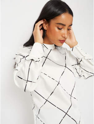 George White Grid Check High Neck Blouse