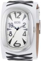 EOS New York Unisex 33BBLKWHT Voo Doo Detailed Leather Strap Watch