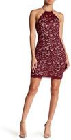 Sequin Hearts Sequin Lace Halter Mini Dress (Juniors)