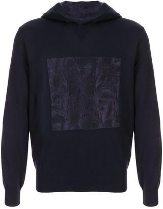 Giorgio Armani contrast embroidered hoodie