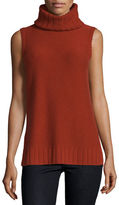 Neiman Marcus Sleeveless Mixed-Stitch Cashmere Turtleneck