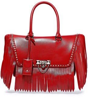 Valentino Garavani Demilune Studded Fringed Leather Shoulder Bag