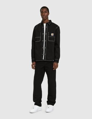 Carhartt WIP Men's Chalk Shirt Jacket in Black, Size Small | 100% Cotton