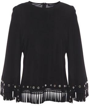 Andrew Gn Fringed Embellished Jersey Blouse