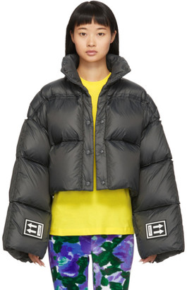 Off-White Black Down 3D Cropped Puffer Jacket