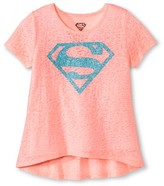Warner Brothers Girls' Supergirl T-Shirt - Neon Coral