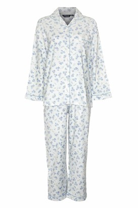 Champion Ladies Brushed Cotton Winceyette Pyjamas with Long Sleeves Elasticated Waist. Pink or Blue Floral Pattern on Cream (XOS 24/26