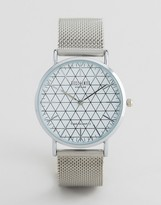 Reclaimed Vintage Inspired Geometric Mesh Strap Watch In Silver