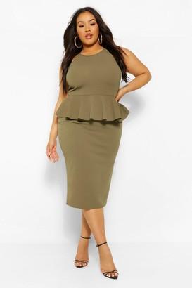 boohoo Plus Peplum Midi Dress