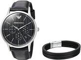 Emporio Armani Men's AR8034 Box Set Leather Watch Bracelet