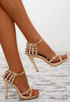 Pink Boutique Unapologetic Nude Studded Cage Stiletto Heels