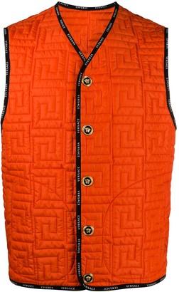 Versace Greca-quilted sleeveless jacket