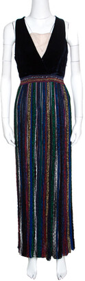 Missoni Velvet Bodice Detail Lurex Knit Sleeveless Maxi Dress S