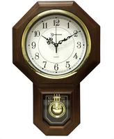 Westminster Timekeeper Products 18-1/2 in. x 11-1/4 in. Pendulum Chime Faux Wood Wall Clock