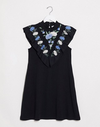 ASOS DESIGN mini dress with embroidered frill yoke in black