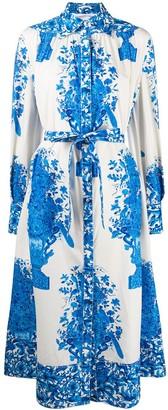 Valentino Balloon Sleeve Cotton Floral Shirt Dress