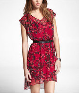 Printed Chiffon Hi-Lo Hem Elastic Waist Dress