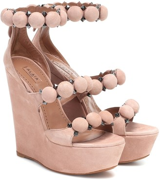 Alaia Bombe suede wedge sandals