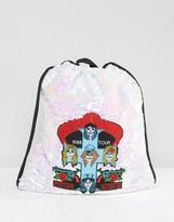 Sacred Hawk Guns N Roses Sequin Drawstring Backpack