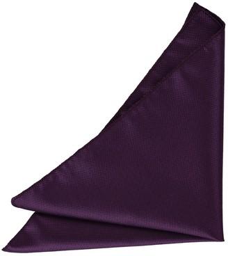 DQT Men Plain Solid Check Cadbury Purple Pocket Square
