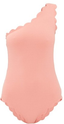 Marysia Swim Santa Barbara Scalloped-edge One-shoulder Swimsuit - Pink