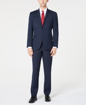 Kenneth Cole Reaction Men's Ready Flex Slim-Fit Stretch Plaid Suits