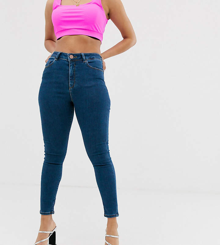Asos DESIGN Petite Ridley high waisted skinny jeans in rich mid blue wash