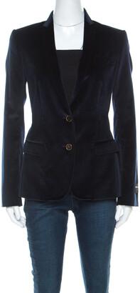 Dolce & Gabbana Navy Blue Velvet Notch Lapel Blazer S