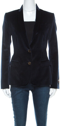 Dolce & Gabbana Navy Blue Velvet Notch Lapel Blazer S