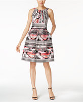 Nine West Printed Pocket Fit & Flare Dress