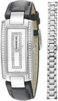Raymond Weil Women's 1500-ST1-42381 Shine Diamond Accented Black Leather Watch